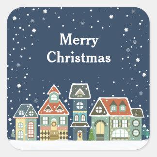 Christmas Holiday Evening Winter Village Scene Square Sticker
