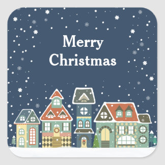 Christmas Holiday Evening Winter Village Scene Square Stickers