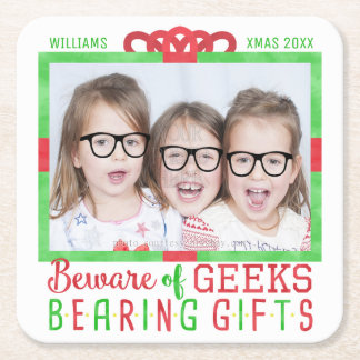 Christmas Holiday Family Photo | Funny Geeks Square Paper Coaster