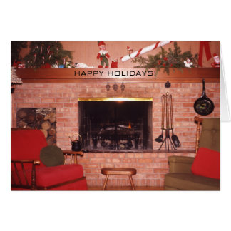 Christmas Holiday Fireplace Greeting Cards