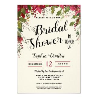 Christmas Holiday Floral Bridal Shower Invitation