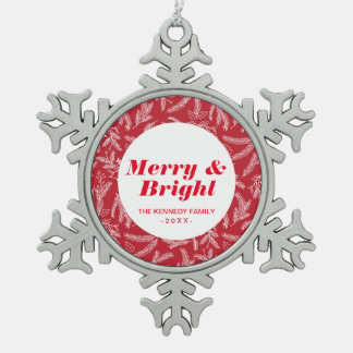 Christmas Holiday Floral Pewter Snowflake Decoration