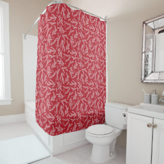 Christmas Holiday Floral Shower Curtain