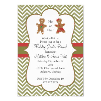 Christmas Holiday Gender Reveal Baby Shower Announcement Card