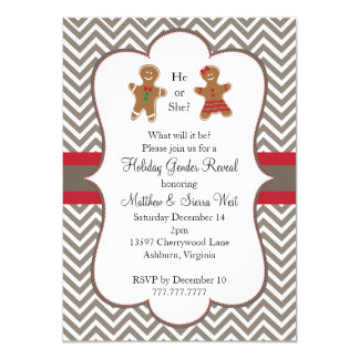 Christmas Holiday Gender Reveal Baby Shower Personalized Announcement