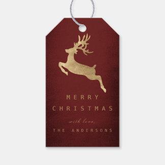 Christmas Holiday Gift Tag Burgunde Gold Reniadeer