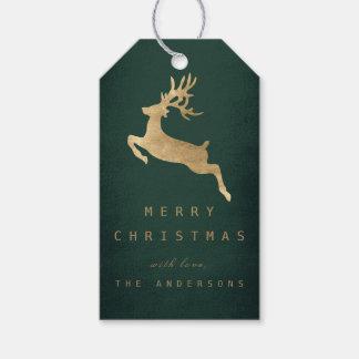 Christmas Holiday Gift Tag Green Gold Reniadeer