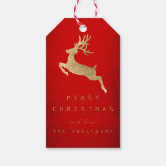 Christmas Holiday Gift Tag Red Gold Reniadeer
