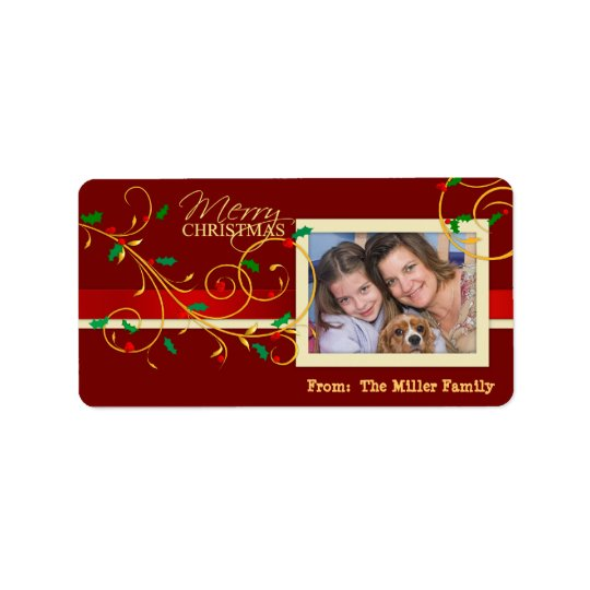 Christmas Holiday Gift Tags Labels with Photo