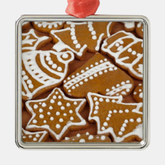 Christmas Holiday Gingerbread Cookies Silver-Colored Square Decoration