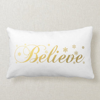 Christmas Holiday Gold Believe Lumbar Cushion