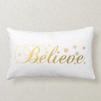 Christmas Holiday Gold Believe Lumbar Cushion