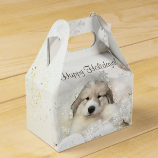 Christmas Holiday Great Pyrenees Pup Watercolor Favour Box