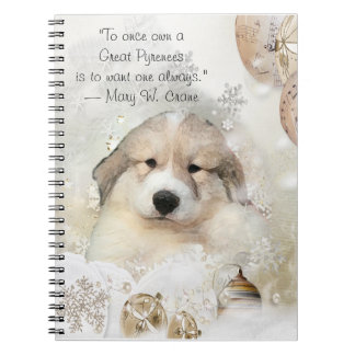 Christmas Holiday Great Pyrenees Pup Watercolor Notebook