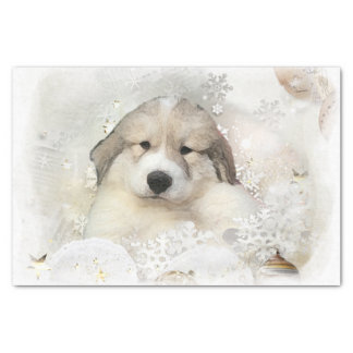 Christmas Holiday Great Pyrenees Pup Watercolor Tissue Paper