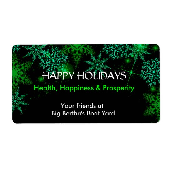 Christmas, Holiday, Green and White Wine Label Shipping Label