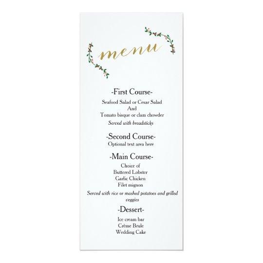 Christmas Holiday Holly Elegant Wedding Menu Card