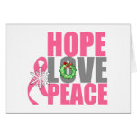 Christmas Holiday Hope Love Peace Breast Cancer Greeting Card