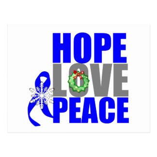 Christmas Holiday Hope Love Peace Colon Cancer Postcard
