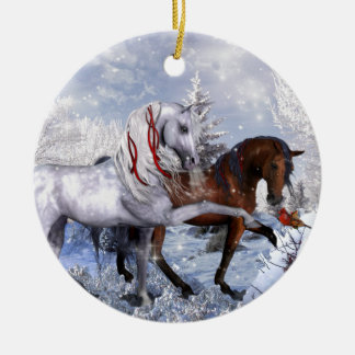 Christmas Holiday Horses Christmas Ornament