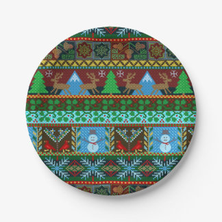 Christmas Holiday Knitted Sweater Pattern Reindeer Paper Plate