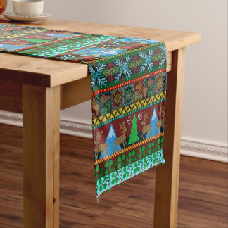 Christmas Holiday Knitted Sweater Pattern Reindeer Short Table Runner