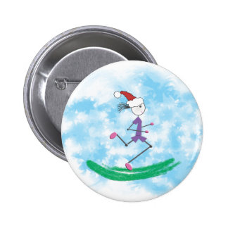 Christmas Holiday Lady Runner 6 Cm Round Badge