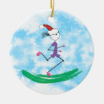 Christmas Holiday Lady Runner - front and back Round Ceramic Decoration