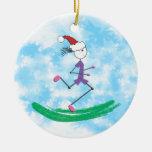 Christmas Holiday Lady Runner Round Ceramic Decoration