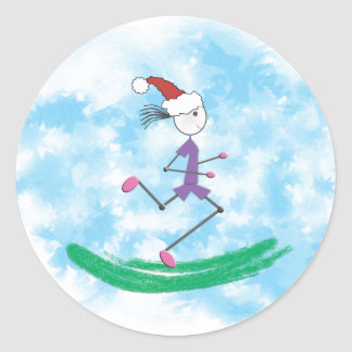 Christmas Holiday Lady Runner Stickers