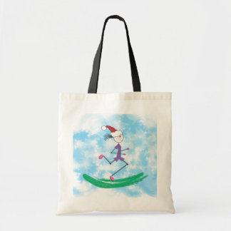 Christmas Holiday Lady Runner Tote Bag