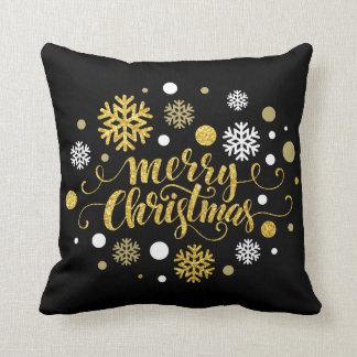Christmas Holiday - Merry Christmas Shimmer Blk Cushion