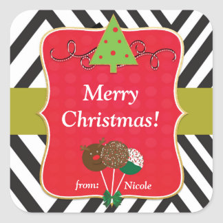 Christmas Holiday Modern Tree & Cake Pops Stickers