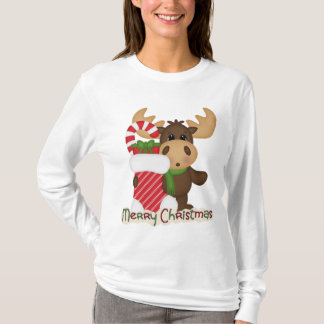 Christmas Holiday Moose cartoon t-shirt