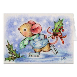 Christmas Holiday Mouse Ice Skating Cute Card