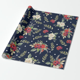 Christmas Holiday Navy Burgundy Ivory Floral Roses Wrapping Paper