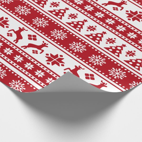 Christmas Holiday Nordic Pattern Cosy Wrapping Paper