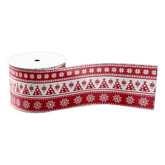 Christmas Holiday Nordic Pattern Cozy Grosgrain Ribbon