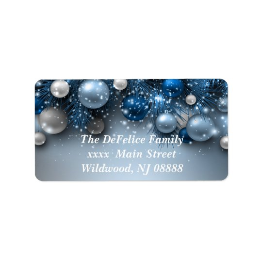 Christmas Holiday Ornaments - Blues Address Label