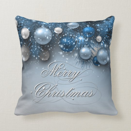 Christmas Holiday Ornaments - Blues Cushion