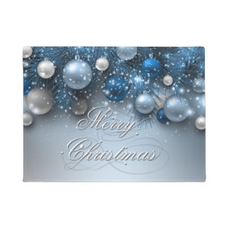 Christmas Holiday Ornaments - Blues Doormat