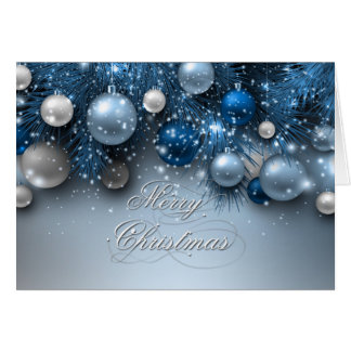 Christmas Holiday Ornaments - Blues Greeting Card