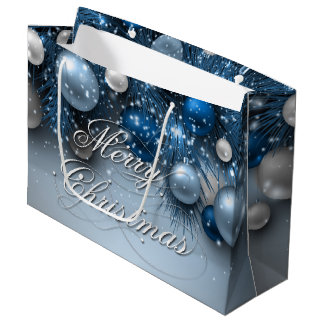 Christmas Holiday Ornaments - Blues Large Gift Bag
