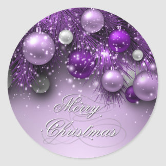 Christmas Holiday Ornaments - Purples Classic Round Sticker