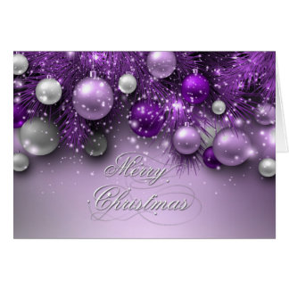 Christmas Holiday Ornaments - Purples Greeting Card
