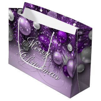Christmas Holiday Ornaments - Purples Large Gift Bag