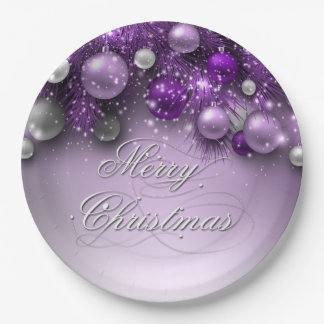 Christmas Holiday Ornaments - Purples Paper Plate