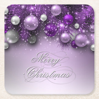 Christmas Holiday - Ornaments Purples Square Paper Coaster