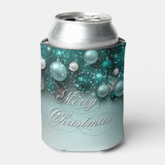 Christmas Holiday Ornaments - Teal Can Cooler
