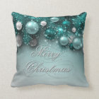 Christmas Holiday Ornaments Teal Cushion